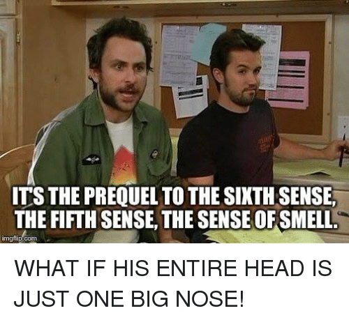 sixth sense: ITS THE PREQUEL TO THE SIXTH SENSE,  THE FIFTHSENSE THE SENSE OF SMELL  inngflip com WHAT IF HIS ENTIRE HEAD IS JUST ONE BIG NOSE!