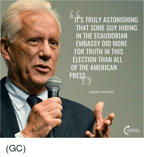 Memes, Astonishing, and James Woods: IT'S TRULY ASTONISHING  THAT SOME GUY HIDING  IN THE ECAUDORIAN  EMBASSY DID MORE  FOR TRUTH IN THIS  ELECTION THAN ALL  OF THE AMERICAN  PRESS  JAMES WooDS  TURNING  POINT USA (GC)