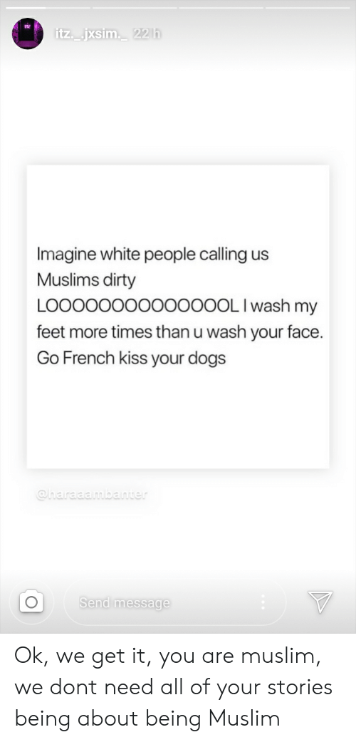 Dogs, Muslim, and Tumblr: itz jxsim 22h  Imagine white people calling us  Muslims dirty  LOO0O00000O000OL Iwash my  feet more times than u wash your face.  Go French kiss your dogs  @haraaambanter  Send message Ok, we get it, you are muslim, we dont need all of your stories being about being Muslim
