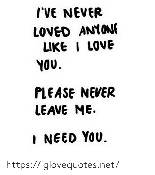Love, I Love You, and Never: I'VE NEVER  LOVED ANYONE  LIKE I LOVE  YOU.  PLEASE NEVER  LEAVE ME.  I NEED YOU. https://iglovequotes.net/