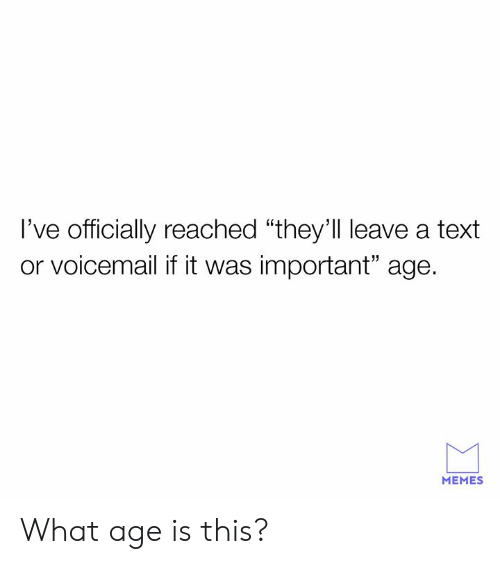 "Dank, Memes, and Text: I've officially reached ""they'll leave a text  or voicemail if it was important"" age.  MEMES What age is this?"