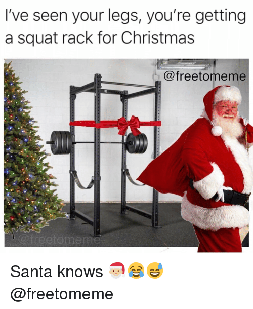 Squat: I've seen your legs, you're getting  a squat rack for Christmas  @freetomeme  @freetomem Santa knows 🎅🏼😂😅 @freetomeme