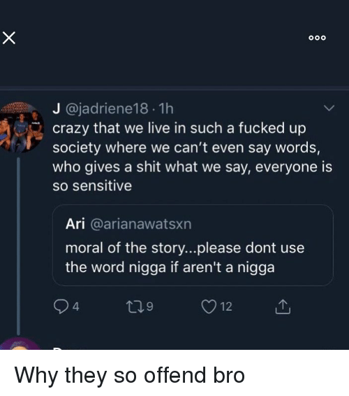 Gives A Shit: J @jadriene18 1h  crazy that we live in such a fucked up  society where we can't even say words,  who gives a shit what we say, everyone is  so sensitive  Ari @arianawatsxn  moral of the story...please dont use  the word nigga if aren't a nigga Why they so offend bro