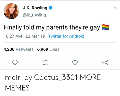 J K: J.K. Rowling  @jk_rowling  Finally told my parents they're gay  10:27 AM 23 Mar 19 Twitter for Android  4,200 Retweets 6,969 Likes meirl by Cactus_3301 MORE MEMES