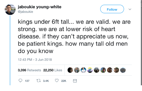 Appreciate, Heart, and Patient: jaboukie young-white  @jaboukie  Follow  kings under 6ft tall... we are valid. we are  strong. we are at lower risk of heart  disease. if they can't appreciate us now  be patient kings. how many tall old men  do you know  2:43 PM-3 Jun 2018  3,396 Retweets 22,250 Likes