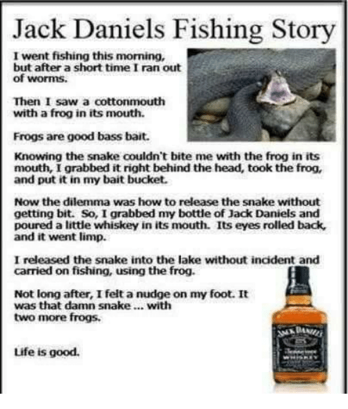 Eyes Rolling: Jack Daniels Fishing Story  I went fishing this morning,  but after a short timeIran out  of worms,  Then I saw a cottonmouth  with a frog in its mouth.  Frogs are good bass bait.  Knowing the snake couldn't bite mee with the frog in its  mouth, I grabbed  it right behind the head, took the frog,  and put it in my bait bucket.  Now the dilemma was how to  release the snake without  getting bit. So, I grabbed my bottle of Jack Daniels and  poured a little whiskey in its mouth. Its eyes rolled back,  and it went limp.  I released the snake into the lake without incident and  carried on fishing, using the frog.  Not long after, I felt a nudge on my foot. It  was that damn snake... with  two more frogs.  Life is good.