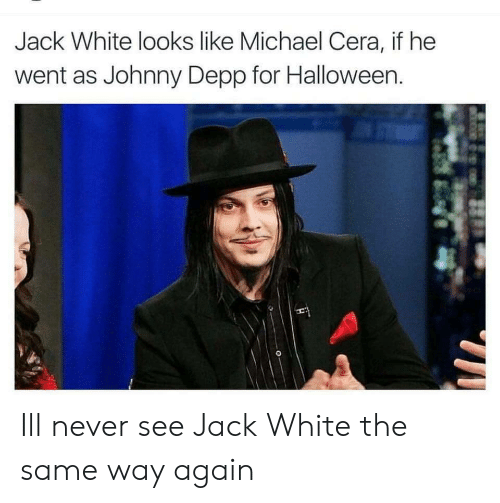 Halloween, Johnny Depp, and Michael Cera: Jack White looks like Michael Cera, if he  went as Johnny Depp for Halloween. Ill never see Jack White the same way again