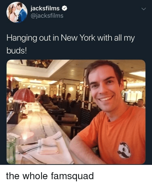 New York, York, and All: jacksfilmso  @jacksfilms  Hanging out in New York with all my  buds! the whole famsquad