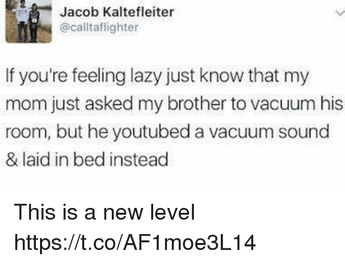 youtubed: Jacob Kaltefleiter  @calltaflighter  If you're feeling lazy just know that my  mom just asked my brother to vacuum his  room, but he youtubed a vacuum sound  & laid in bed instead This is a new level https://t.co/AF1moe3L14