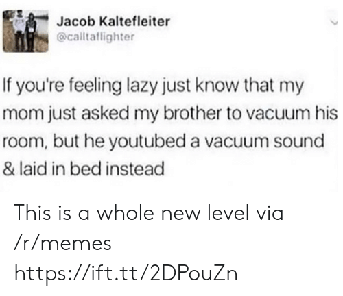 youtubed: Jacob Kaltefleiter  @calltaflighter  If you're feeling lazy just know that my  mom just asked my brother to vacuum his  room, but he youtubed a vacuum sound  & laid in bed instead This is a whole new level via /r/memes https://ift.tt/2DPouZn