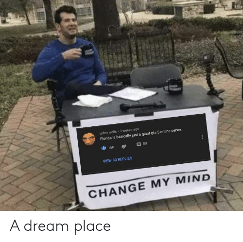 A Dream, Florida, and Giant: jaden wells 3 weeks ago  Florida is basically just a giant gta 5 online server.  16K  80  VIEW 80 REPLIES  CHANGE MY MIND A dream place