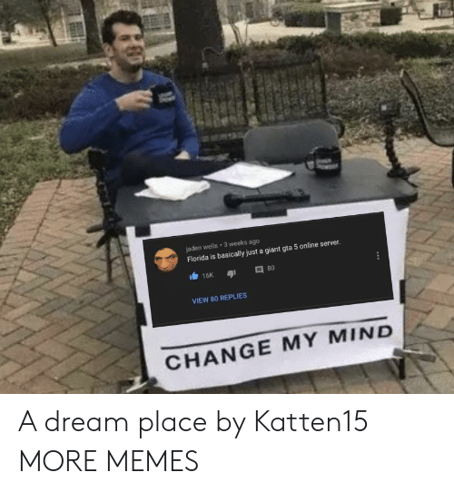 A Dream, Dank, and Memes: jaden wells 3 weeks ago  Florida is basically just a giant gta 5 online server.  16K  80  VIEW 80 REPLIES  CHANGE MY MIND A dream place by Katten15 MORE MEMES