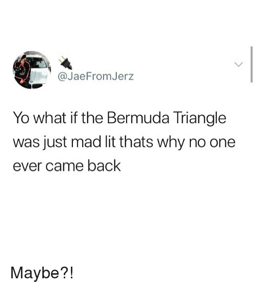 Bermuda: @JaeFromJerz  Yo what if the Bermuda Triangle  was just mad lit thats why no one  ever came back Maybe?!