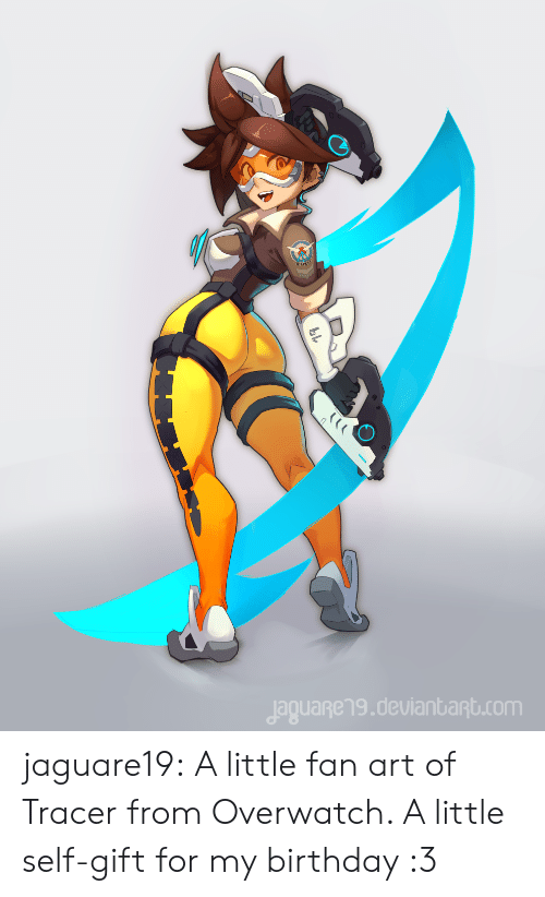 Birthday, Tumblr, and Blog: jaguageng.deulanbant.com jaguare19:    A little fan art of Tracer from Overwatch. A little self-gift for my birthday :3