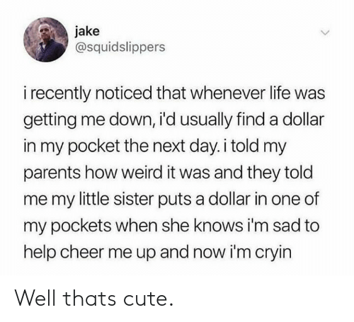 Cute, Life, and Parents: jake  @squidslippers  i recently noticed that whenever life was  getting me down, i'd usually finda dollar  in my pocket the next day.i told my  parents how weird it was and they told  me my little sister puts a dollar in one of  my pockets when she knows i'm sad to  help cheer me up and now i'm cryin Well thats cute.
