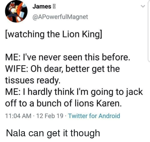 Android, Twitter, and Lion: James  @APowerfulMagnet  [watching the Lion Kingl  ME: I've never seen this before.  WIFE: Oh dear, better get the  tissues ready.  ME: I hardly think I'm going to jack  off to a bunch of lions Karen.  11:04 AM 12 Feb 19 Twitter for Android Nala can get it though