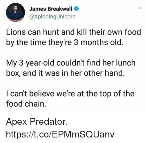 Food, Funny, and Apex: James Breakwell  @XplodingUnicorn  Lions can hunt and kill their own food  by the time theyre 3 months old  My 3-year-old couldn't find her lunch  box, and it was in her other hand.  I can't believe we're at the top of the  food chain. Apex Predator. https://t.co/EPMmSQUanv