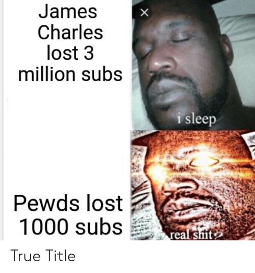 True, Lost, and Sleep: James  Charles  lost 3  million subs  i sleep  Pewds lost  1000 subsal sits True Title