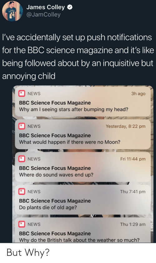 Head, News, and Waves: James Colley  g @JamColley  l've accidentally set up push notifications  for the BBC science magazine and it's like  being followed about by an inquisitive but  annoying child  NEWS  BBC Science Focus Magazine  Why am I seeing stars after bumping my head?  3h ago  NEWS  Yesterday, 8:22 pm  De  BBC Science Focus Magazine  What would happen if there were no Moon?  Fri 11:44 pm  NEWS  BBC Science Focus Magazine  Where do sound waves end up?  NEWS  Thu 7:41 pm  BBC Science Focus Magazine  Do plants die of old age?  NEWS  Thu 1:29 am  BBC Science Focus Magazine  Why do the British talk about the weather so much? But Why?