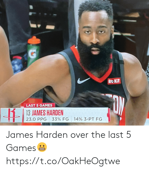 James Harden: James Harden over the last 5 Games😬 https://t.co/OakHeOgtwe