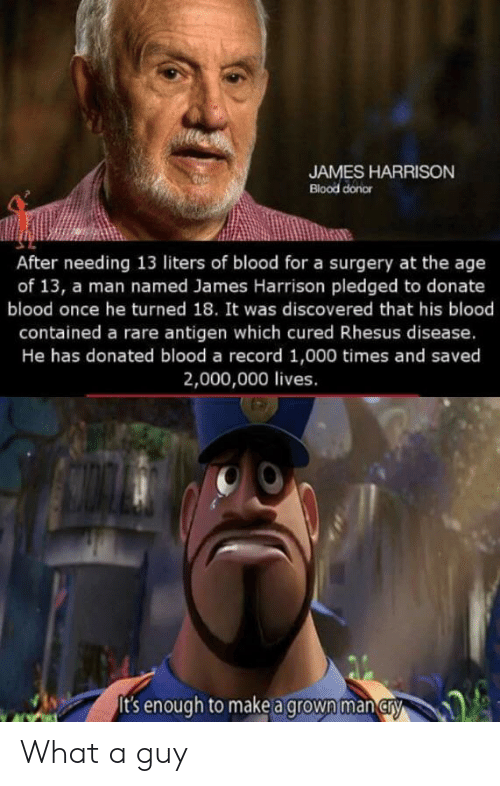 Record, James Harrison, and Blood: JAMES HARRISON  Blood donor  After needing 13 liters of blood for a surgery at the age  of 13, a man named James Harrison pledged to donate  blood once he turned 18. It was discovered that his blood  contained a rare antigen which cured Rhesus disease.  He has donated blood a record 1,000 times and saved  2,000,000 lives.  It's enough to make a grown man cry What a guy