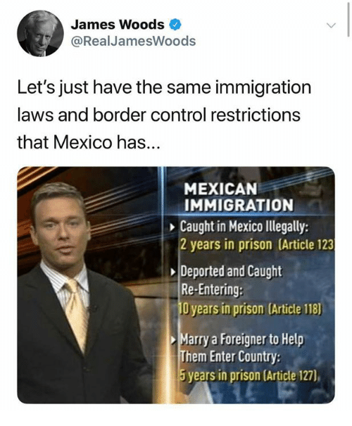 Memes, Control, and Prison: James Woods  @RealJamesWoods  Let's just have the same immigration  laws and border control restrictions  that Mexico has...  MEXICAN  IMMIGRATION  Caught in Mexico lllegally:  2 years in prison (Article 123  Deported and Caught  Re-Entering:  O years in prison (Article 118)  Marry a Foreigner to Help  Them Enter Country  5 years in prison (Article 127),