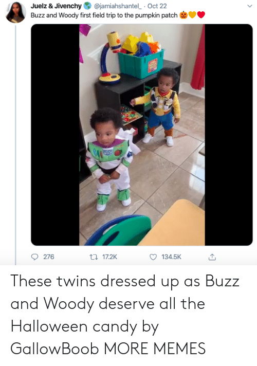 Twins: @jamiahshantel Oct 22  Juelz & Jivenchy  Buzz and Woody first field trip to the pumpkin patch  276  t17.2K  134.5K These twins dressed up as Buzz and Woody deserve all the Halloween candy by GallowBoob MORE MEMES