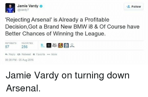 Jamie Vardy O Follow Gavardy7 Rejecting Arsenal Is Already A
