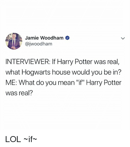 "Harry Potter, Lol, and House: Jamie Woodham  @jwoodham  INTERVIEWER: If Harry Potter was real,  what Hogwarts house would you be in?  ME: What do you mean ""if"" Harry Potter  was real? LOL ~if~"