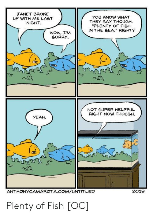 "Sorry, Wow, and Yeah: JANET BROKE  UP WITH ME LAST  NIGHT  YOU KNOW WHAT  THEY SAY THOUGH  ""PLENTY OF FISH  IN THE SEA."" RIGHT?  Wow, I'M  SORRY  NOT SUPER HELPFUL  BIGHT NOW THOUGH  YEAH  ANTHONYCAMAROTA.COM/UNTITLED  2019 Plenty of Fish [OC]"