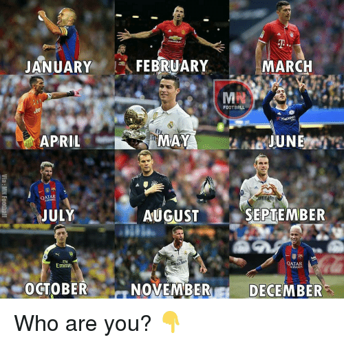 Irate: JANUARY  APRIL  OATAR  JULY  Fly  Emira  OCTOBER  FEBRUARY  MAY  AUGUST  fly  NOVEMBER  MARCH  FOOTBALL  JUNE  irates  SEPTEMBER  QATAR  AIRWAYS  DECEMBER Who are you? 👇