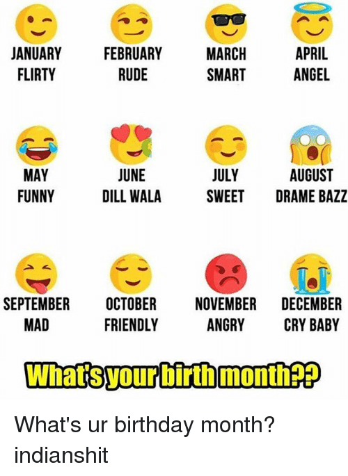 crying babies: JANUARY  FEBRUARY  MARCH  APRIL  FLIRTY  RUDE  SMART  ANGEL  AUGUST  JUNE  JULY  MAY  FUNNY  DILL WALA  SWEET  DRAME BAZZ  SEPTEMBER  OCTOBER  NOVEMBER  DECEMBER  MAD  FRIENDLY  ANGRY  CRY BABY  What SvourbirthmonthEE What's ur birthday month? indianshit