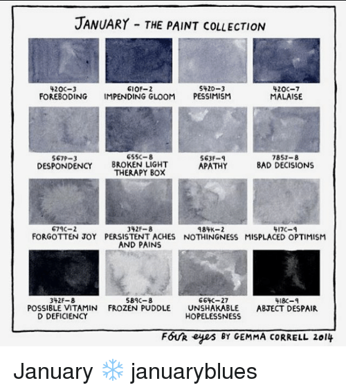 optimal: JANUARY THE PAINT coLLECTION  5420-3  420C-3  610F-2  420C-7  FOREBODING IMPENDING GLOOM  PESSIMISM  MALAISE  65SC-8  567P-3  563F-4  785J-8  DESPONDENCY BROKEN LIGHT  BAD DECISIONS  APATHY  THERAPY BOX  674C-2  984K-2  342  417C  FORGOTTEN JOY PERSISTENT ACHES NOTHINGNESS MISPLACED OPTIMISM  AND PAINS  589C-8  664C-27  342 F-8  418C-q  POSSIBLE VITAMIN FROZEN PUDDLE  UNSHAKABLE  ABJECT DESPAIR  D DEFICIENCY  HOPELESSNESS  FOUR eyes BY GEMMA CORRELL 2014 January ❄️ januaryblues
