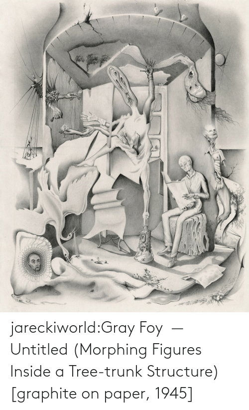 figures: jareckiworld:Gray Foy  —  Untitled (Morphing Figures Inside a Tree-trunk Structure) [graphite on paper, 1945]
