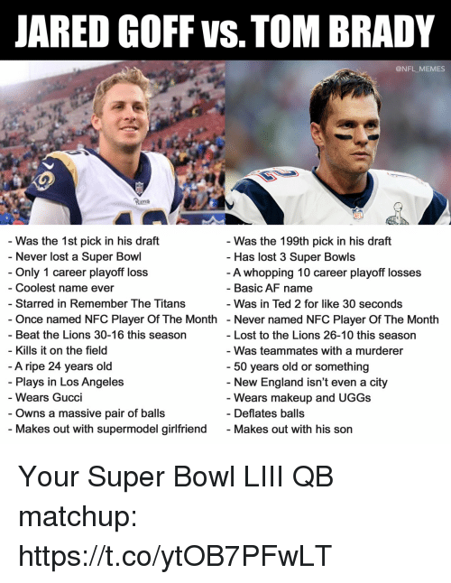 starred: JARED GOFF VS. TOM BRADY  @NFL MEMES  Ran  Was the 1st pick in his draft  Only 1 career playoff loss  Starred in Remember The Titans  Was the 199th pick in his draft  Has lost 3 Super Bowls  A whopping 10 career playoff losses  Basic AF name  Was in Ted 2 for like 30 seconds  - Never lost a Super Bowl  - Coolest name ever  Once named NFC Player Of The Month - Never named NFC Player Of The Month  - Beat the Lions 30-16 this season  - Kills it on the field  Lost to the Lions 26-10 this season  Was teammates with a murderer  A ripe 24 years old  Plays in Los Angeles  Wears Gucci  - 50 years old or something  New England isn't even a city  Wears makeup and UGGs  Deflates balls  - Owns a massive pair of ball:s  Makes out with supermodel girlfriend  - Makes out with his son Your Super Bowl LIII QB matchup: https://t.co/ytOB7PFwLT
