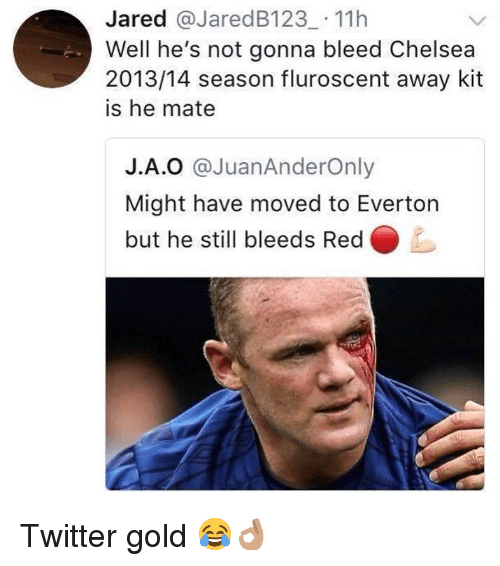 Chelsea, Everton, and Memes: Jared @JaredB123 11h  Well he's not gonna bleed Chelsea  2013/14 season fluroscent away kit  is he mate  J.А.O @JuanAnderOnly  Might have moved to Everton  but he still bleeds Red Twitter gold 😂👌🏽