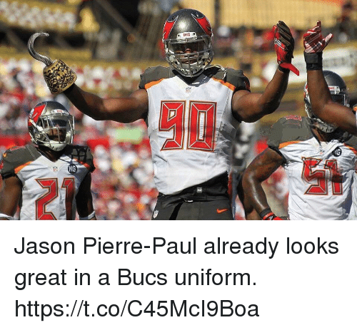 Jason Pierre-Paul, Memes, and 🤖: Jason Pierre-Paul already looks great in a Bucs uniform. https://t.co/C45McI9Boa