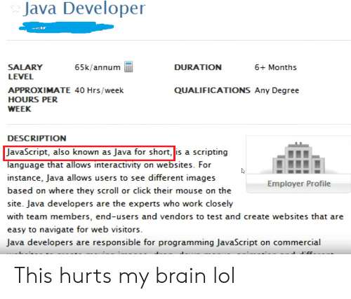 Click, Lol, and Work: Java Developer  SALARY  65k/annum  DURATION  6+ Months  LEVEL  QUALIFICATIONS Any Degree  APPROXIMATE 40 Hrs/week  HOURS PER  WEEK  DESCRIPTION  JavaScript, also known as Java for short, is a scripting  language that allows interactivity on websites. For  instance, Java allows users to see different images  Employer Profile  based on where they scroll or click their mouse on the  site. Java developers are the experts who work closely  with team members, end-users and vendors to test and create websites that are  easy to navigate for web visitors  Java developers are responsible for programming JavaScript on commercial This hurts my brain lol