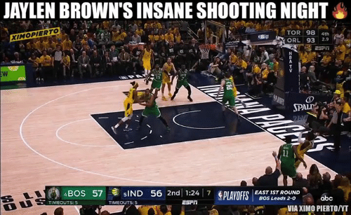 Nba, Browns, and Tor: JAYLEN BROWN'S INSANE SHOOTING NIGHT  TOR 98 4th  2.9  XIMOPIERTO  SPAL  4BOS 57  5IND 56 2nd 1:24 7 SPLAYOFFS  EAST 1ST ROUND  BOS Leads 2-0  TIMEOUTS: 5  VIA XIMO PIERTO/NT
