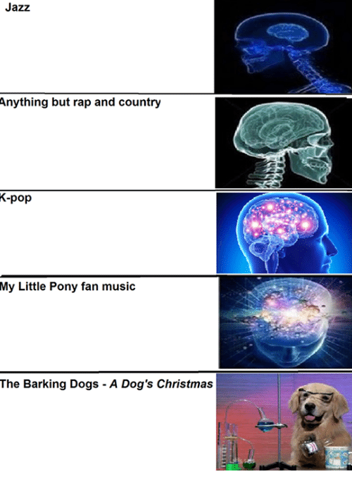 Christmas, Pop, and Rap: Jazz  Anything but rap and country  K-pop  My Little Pony fan music  The Barking Dogs A Dog's Christmas