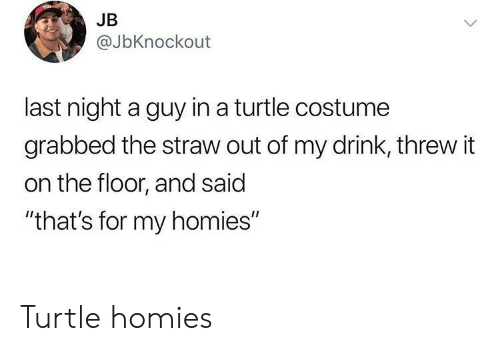 "Turtle, Last Night, and For: JB  @JbKnockout  last night a guy in a turtle costume  grabbed the straw out of my drink, threw it  on the floor, and said  ""that's for my homies"" Turtle homies"