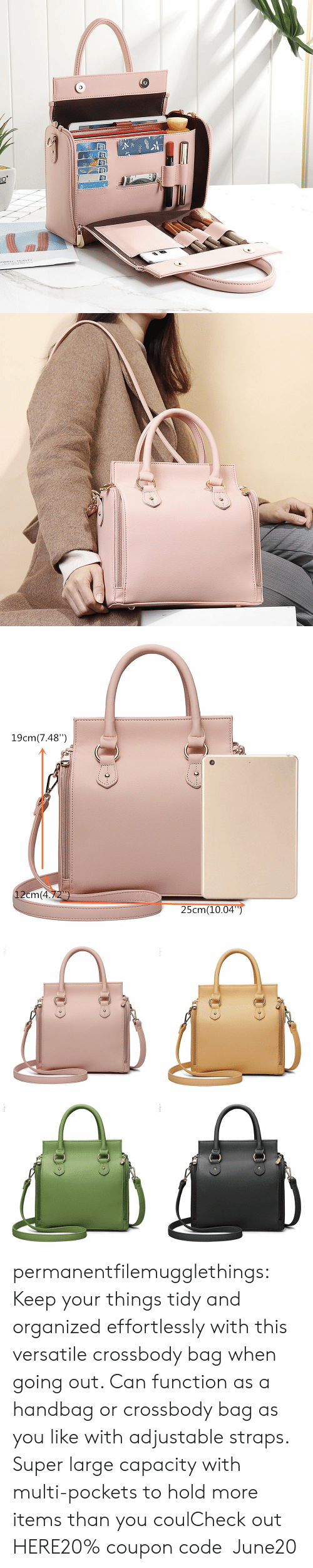 """Tumblr, Blog, and Super: JC  ORDIC EANTS   19cm(7.48"""")  12cm(4.72)  25cm(10.04"""") permanentfilemugglethings:  Keep your things tidy and organized effortlessly with this versatile crossbody bag when going out. Can function as a handbag or crossbody bag as you like with adjustable straps. Super large capacity with multi-pockets to hold more items than you coulCheck out HERE20% coupon code:June20"""