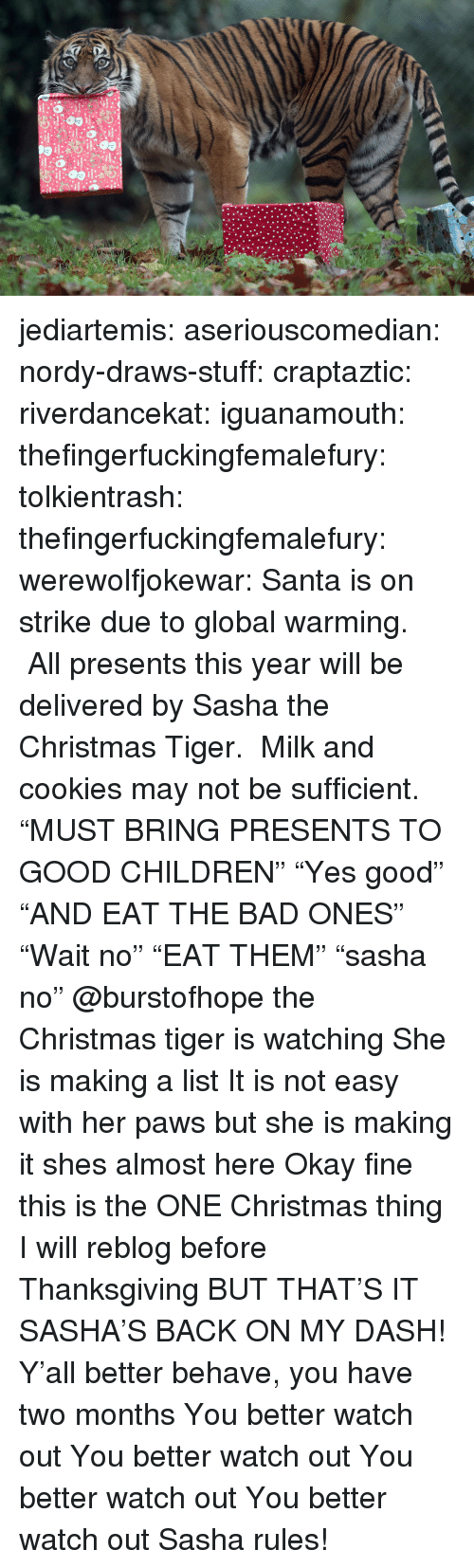"Bad, Children, and Christmas: jediartemis:  aseriouscomedian:  nordy-draws-stuff:   craptaztic:  riverdancekat:  iguanamouth:  thefingerfuckingfemalefury:  tolkientrash:  thefingerfuckingfemalefury:  werewolfjokewar:  Santa is on strike due to global warming.  All presents this year will be delivered by Sasha the Christmas Tiger.  Milk and cookies may not be sufficient.  ""MUST BRING PRESENTS TO GOOD CHILDREN"" ""Yes good"" ""AND EAT THE BAD ONES""  ""Wait no"" ""EAT THEM"" ""sasha no""   @burstofhope the Christmas tiger is watching  She is making a list  It is not easy with her paws but she is making it   shes almost here   Okay fine this is the ONE Christmas thing I will reblog before Thanksgiving BUT THAT'S IT  SASHA'S BACK ON MY DASH!  Y'all better behave, you have two months   You better watch out You better watch out You better watch out You better watch out  Sasha rules!"