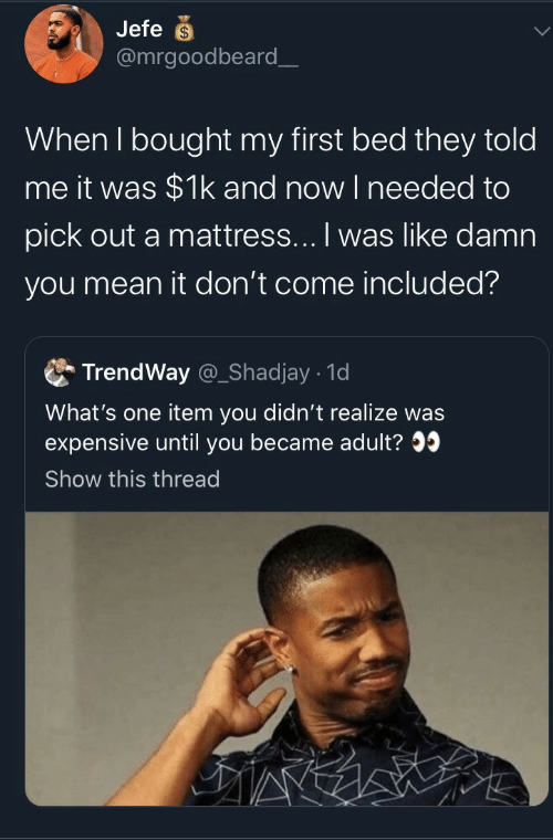 Mattress, Mean, and One: Jefe  @mrgoodbeard_  When I bought my first bed they told  me it was $1k and now I needed to  pick out a mattress... I was like damn  you mean it don't come included?  TrendWay @_Shadjay 1d  What's one item you didn't realize was  expensive until you became adult?  Show this thread