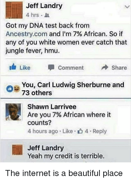 Beautiful, Internet, and Yeah: Jeff Landry  4 hrs .  Got my DNA test back from  Ancestry.com and I'm 7% African. So if  any of you white women ever catch that  jungle fever, hmu.  Like 甲Comment →Share  oe You, Carl Ludwig Sherburne and  73 others  Shawn Larrivee  Are you 7% African where it  counts?  4 hours ago . Like-山4 . Reply  Jeff Landry  Yeah my credit is terrible. The internet is a beautiful place