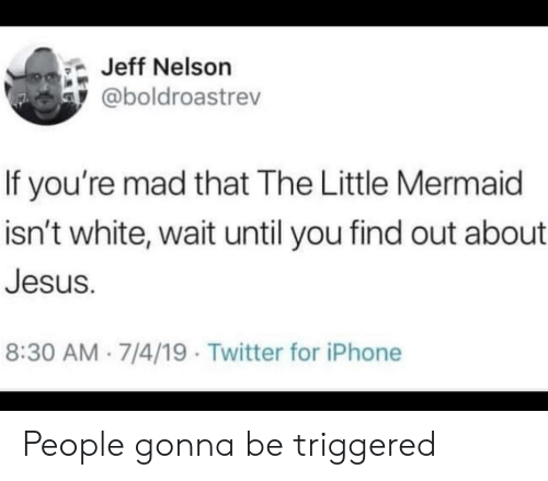 nelson: Jeff Nelson  @boldroastrev  If you're mad that The Little Mermaid  isn't white, wait until you find out about  Jesus.  8:30 AM 7/4/19 Twitter for iPhone People gonna be triggered