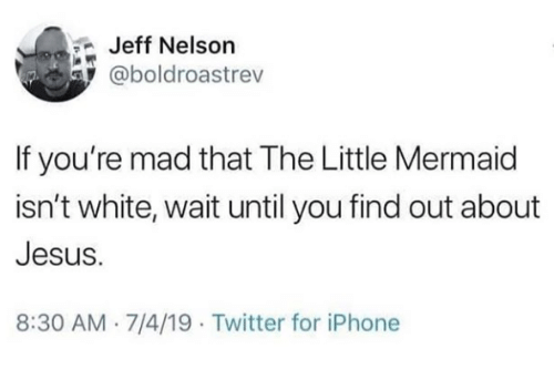 nelson: Jeff Nelson  @boldroastrev  If you're mad that The Little Mermaid  isn't white, wait until you find out about  Jesus.  8:30 AM 7/4/19 Twitter for iPhone
