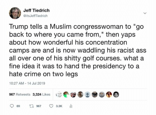 """Ass, Crime, and Memes: Jeff Tiedrich  @itsJeffTiedrich  Trump tells a Muslim congresswoman to """"go  back to where you came from,"""" then yaps  about how wonderful his concentration  camps are and is now waddling his racist ass  all over one of his shitty golf courses. what a  fine idea it was to hand the presidency to  hate crime on two legs  10:27 AM 14 Jul 2019  967 Retweets 3,324 Likes  t 967  69  3.3K"""