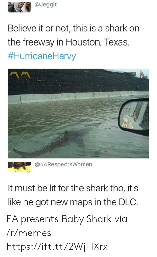 Believe It: @Jeggit  Believe it or not, this is a shark on  the freeway in Houston, Texas.  #HurricaneHarvy  MM  @K4RespectsWomen  It must be lit for the shark tho, it's  like he got new maps in the DLC. EA presents Baby Shark via /r/memes https://ift.tt/2WjHXrx