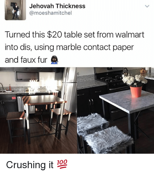 jehovah: Jehovah Thickness  @moeshamitchel  Turned this $20 table set from walmart  into dis, using marble contact paper  and faux fur Crushing it 💯